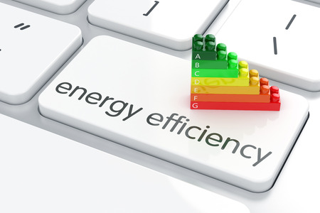 27293065 - 3d render of energy efficiency rating on computer keyboard